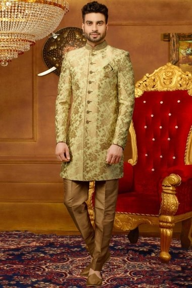 Light Green and Golden Jacquard Silk Woven Indo Western Outfit