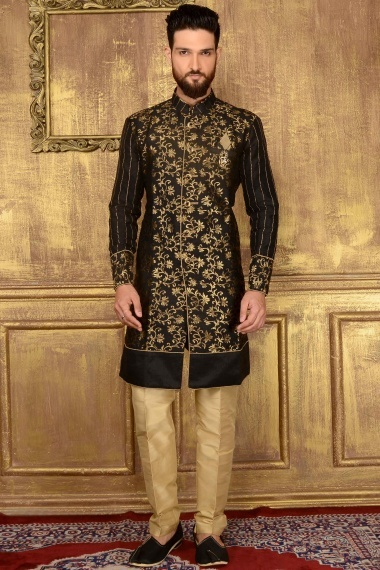Black Jacquard outfits with Weaving