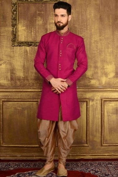 Dark Pink Jacquard Indo Western Outfits with Embroidered Collar