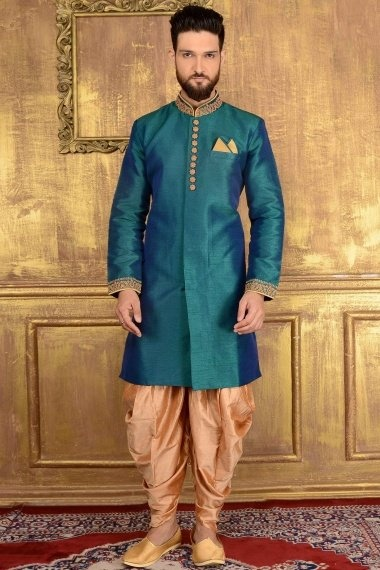 Peacock Blue Jacquard Indo Western Outfits with Embroidered Collar