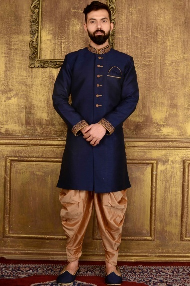 Dark Blue Jacquard Indo Western Outfits with Embroidered Collar