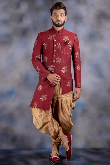 Maroon Imported Floral Printed Indo Westarn
