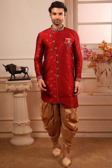 Red Jacquard Art Silk Indo Western with Dhoti