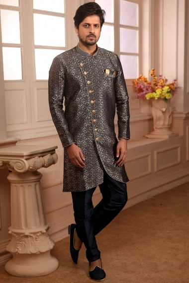 Navy Blue Jacquard Art Silk Indo Western with Pant