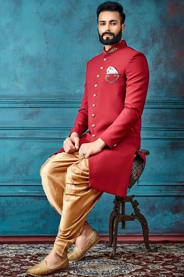 Red Imported Handworked Indo Western