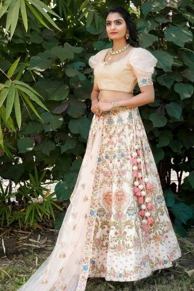 Light Peach Silk Heavy Embroidered Worked Lehenga with Designer Blouse