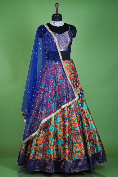 Blue and Multi Colored Silk Lehenga with Double Blouse