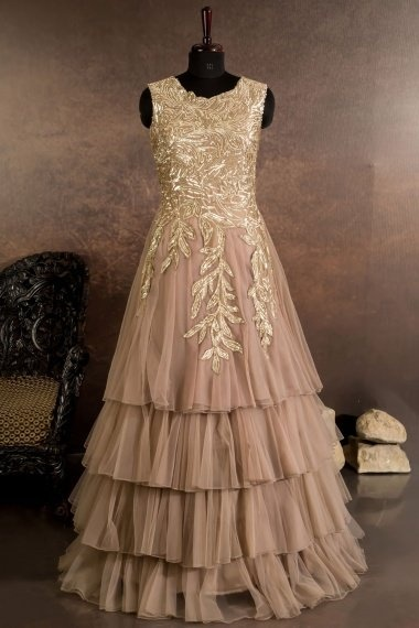Taupe Net Designer Layered Gown with Sequins Work
