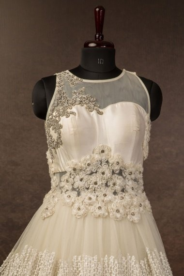 Off White Net Designer Layered Gown with 3D Work