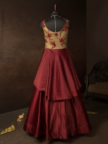 Maroon Impored Layered Anarkali Gown with Handwork