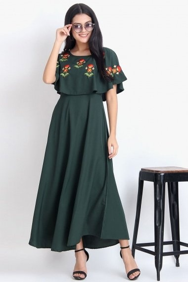 Bottle Green Rayon Anarkali Poncho Style Kurti with Floral Embroidery