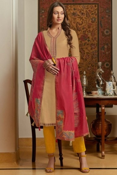 Beige Muslin Straight Cut Suit with Embroidery