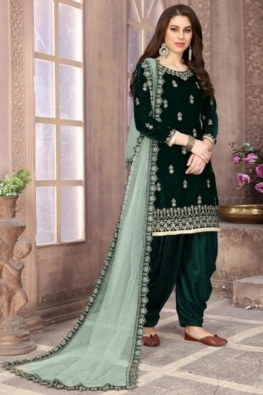 Green Velvet Embroidered Straight Cut Patiala Suit