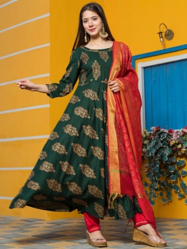 Bottle Green Rayon Anarkali Suit with Floral Printed Butta