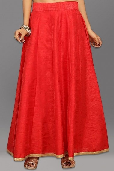 Red Dupion Silk Plain Skirt with Contrast Border