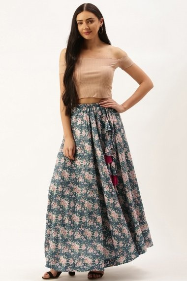 Blue Polyester Cotton Floral Printed Skirt