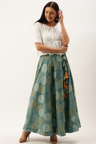 Steel Grey Polyester Cotton Printed Skirt