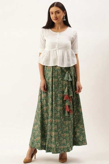 Green Polyester Cotton All Over Printed Skirt