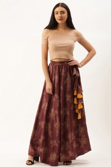 Maroon Polyester Cotton Printed Skirt