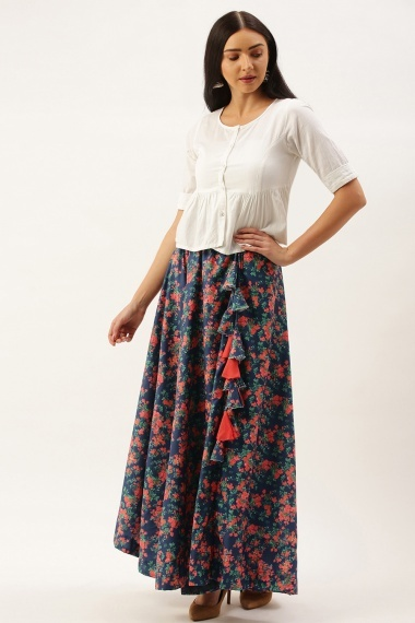 Blue Polyester Cotton Multi Colored Floral Printed Skirt