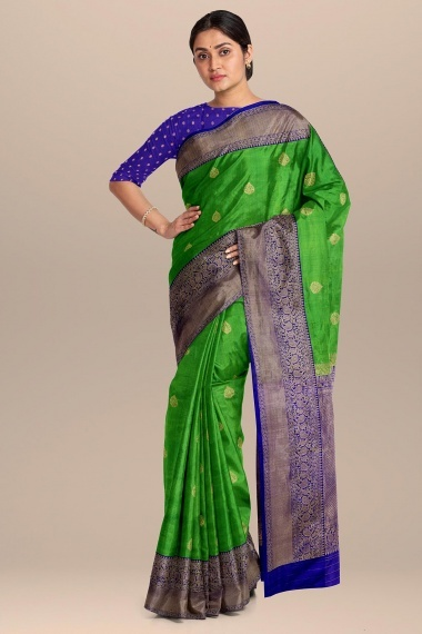 Parrot Green Silk Saree with Contrast Woven Border and Pallu
