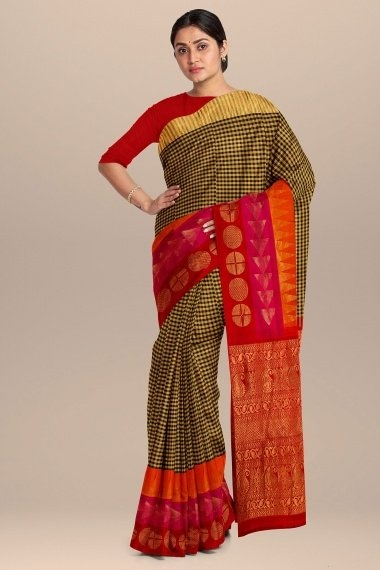 Golden and Black South Silk Checks Saree with Broad Woven Border and Pallu