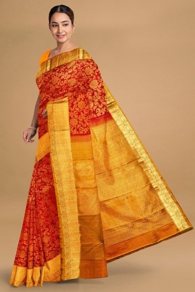 Red Kanchipuram Silk All Over Floral Jaal Woven Saree