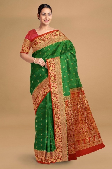 Green Silk Saree with Woven Buttis and Contrast Border and Pallu