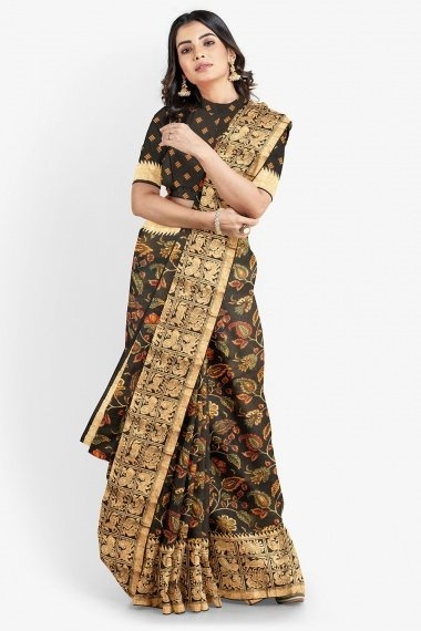 Black Cotton All Over Floral Printed Saree with Woven Border