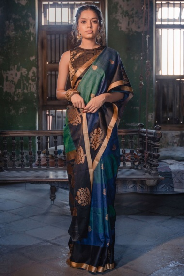 Green and Blue Raw Silk Woven Saree