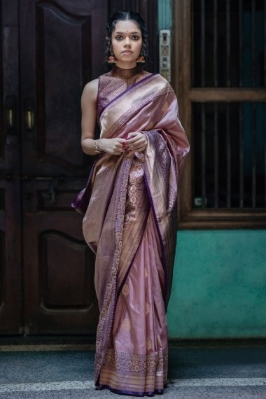 Dusty Pink Pure Silk Traditional Woven Saree