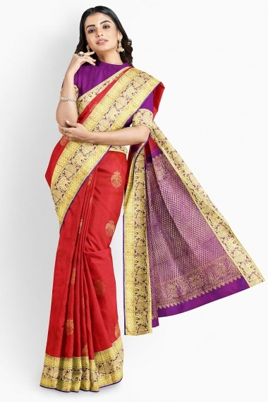 Red Pink Shaded Kanchipuram Silk Woven Saree with Contrast Pallu
