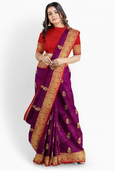Violet Purple South Silk Saree with Floral Woven Butta
