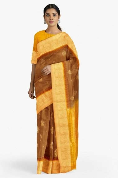Brown South Silk Woven Saree with Contrast Border and Pallu