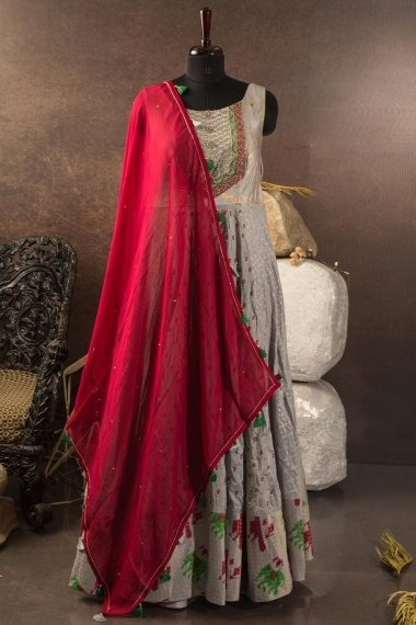Grey Cotton Silk Embroidered Anarkali Suit with Elephant Motifs Border