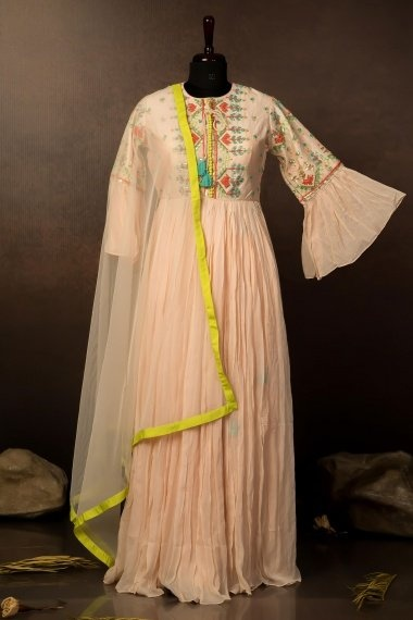 Cream Chiffon Georgette Pleated Embroidered Suit with Palazzo