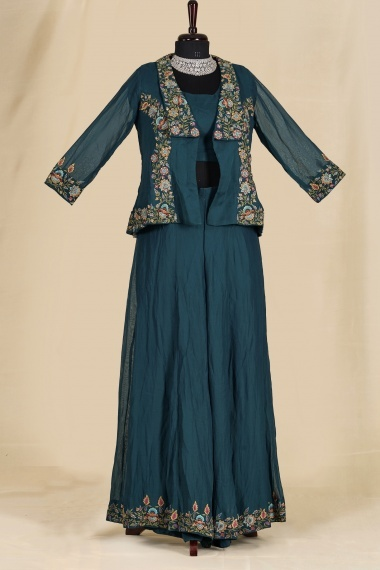 Teal Blue Georgette Crop Top Palazzo Suit with Jacket
