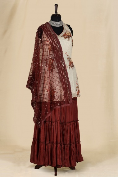 Off White Chiffon Georgette Floral Printed Sharara Suit