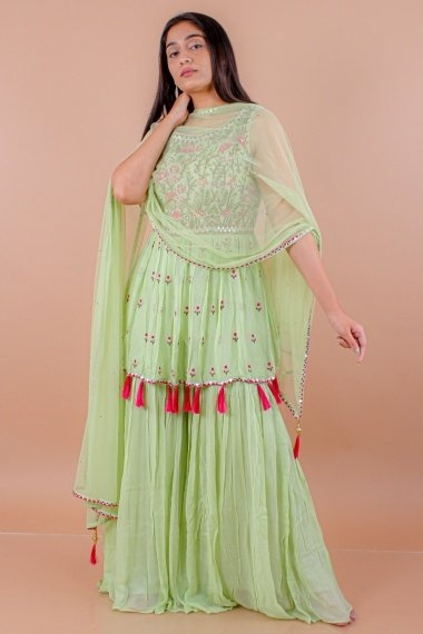Moss Green Georgette Palazzo Suit