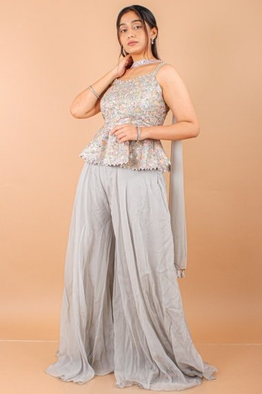 Grey Cotton Embroidered Palaazo Suit