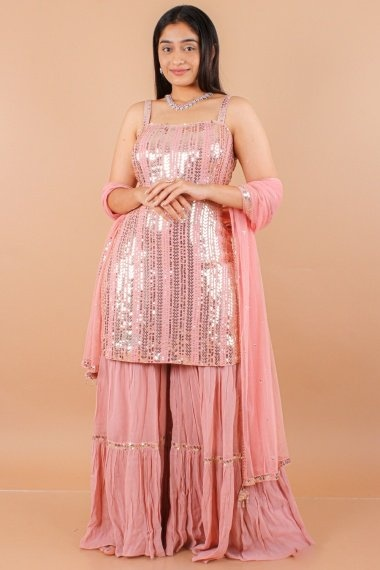 Dusty Pink Chiffon Georgette Sequinsed Sharara Suit