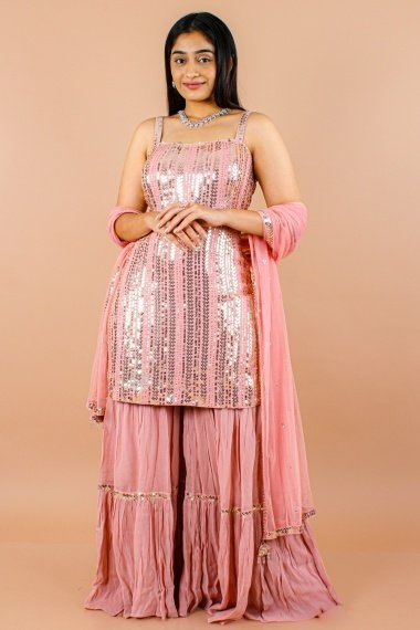 Dusty Pink Chiffon Georgette Sequinned Sharara Suit