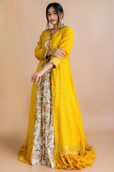 Cream and Yellow Cotton Silk Anarkali Suit with Long Jacket