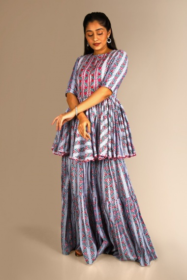 Grey Cotton Pleated Sharara Suit