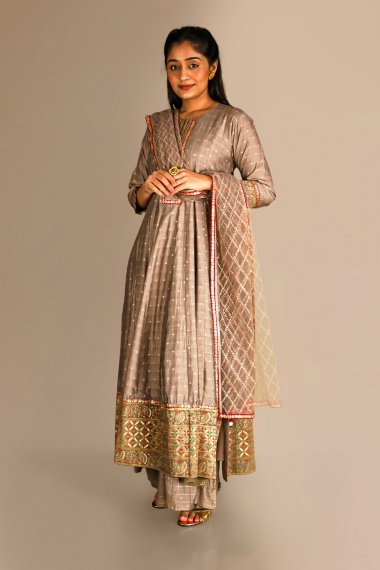 Taupe Cotton Silk Straight Cut Palazzo Suit