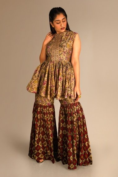 Brown Cotton Floral Printed Sharara Suit