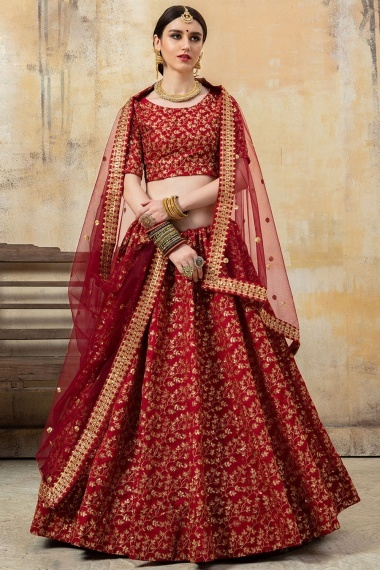 Maroon Art Silk Traditional Lehenga Choli with All Over Floral Embroidery