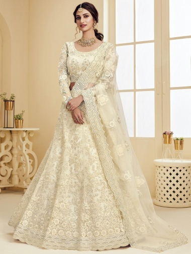 Off White Net Floral Embroidered Designer Lehenga Choli with Stone Work