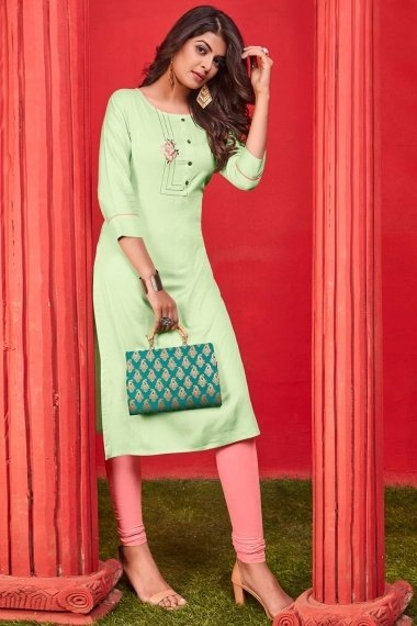 Light Green Cotton Straight Cut Kurti with Embroidery