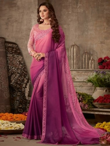 Pink and Purple Shaded Satin Silk Plain Saree with Embroidered Border